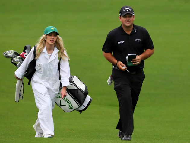 Patrick Reed and his wife Justine Karain when she worked as a caddy of his (Source: Golf Monthly)