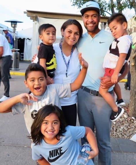 Alayna Finau with her husband Tony and kids